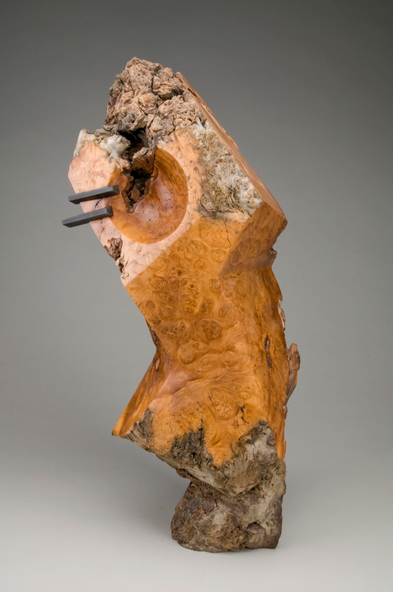 Standing sculpture, with dovetail keys Red maple burl